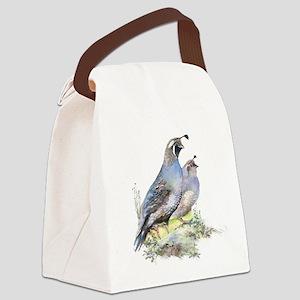 Watercolor California Quail Bird Canvas Lunch Bag