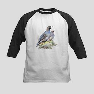 Watercolor California Quail Bird Kids Baseball Jer