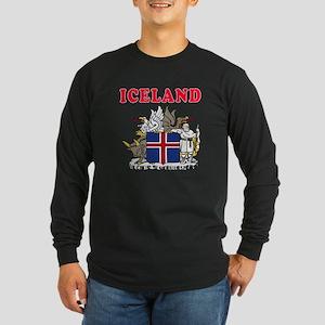 Iceland Coat Of Arms Designs Long Sleeve Dark T-Sh