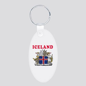 Iceland Coat Of Arms Designs Aluminum Oval Keychai