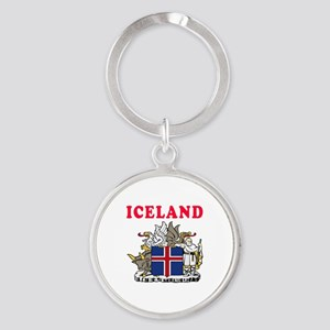 Iceland Coat Of Arms Designs Round Keychain