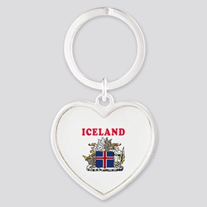 Iceland Coat Of Arms Designs Heart Keychain