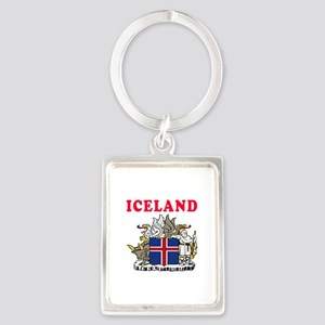 Iceland Coat Of Arms Designs Portrait Keychain