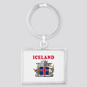 Iceland Coat Of Arms Designs Landscape Keychain