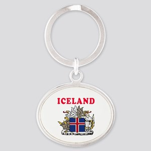 Iceland Coat Of Arms Designs Oval Keychain