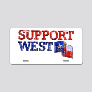 Support West Aluminum License Plate