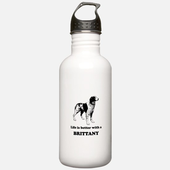 Life Is Better With A Brittany Sports Water Bottle