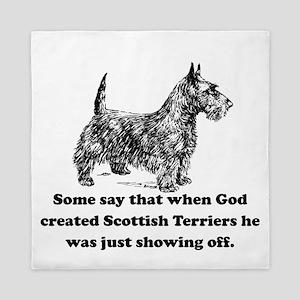 When God Created Scottish Terriers Queen Duvet