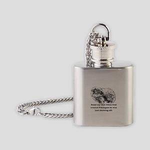When God Created Pekingese Flask Necklace