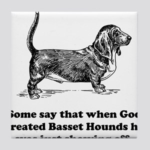 When God Created Basset Hounds Tile Coaster