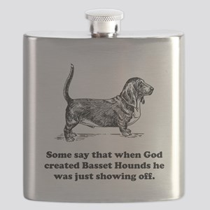 When God Created Basset Hounds Flask
