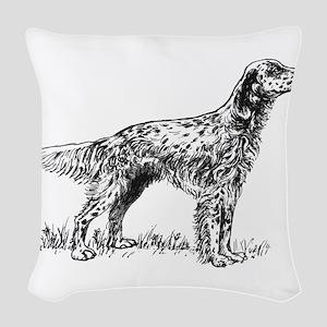 English Setter Sketch Woven Throw Pillow