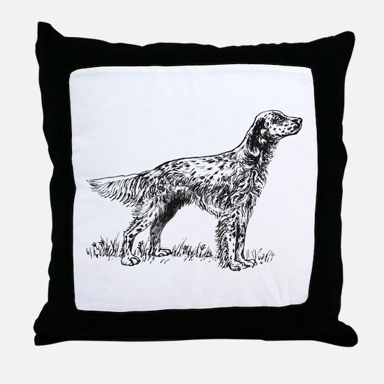 English Setter Sketch Throw Pillow