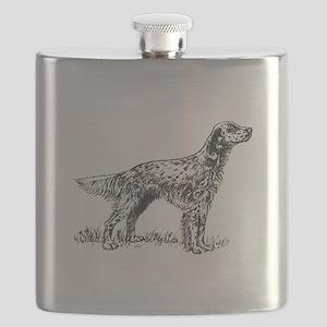 English Setter Sketch Flask