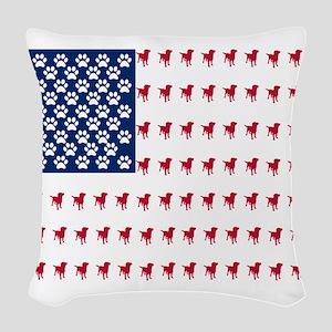 USA Dog Flag Woven Throw Pillow
