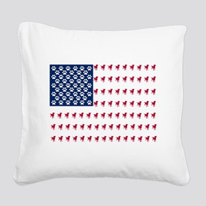 USA Dog Flag Square Canvas Pillow