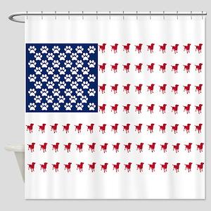 USA Dog Flag Shower Curtain