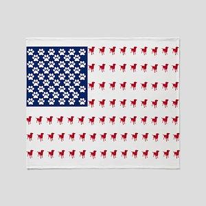 USA Dog Flag Throw Blanket