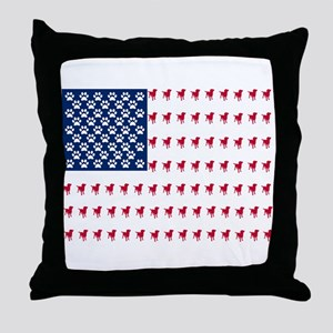 USA Dog Flag Throw Pillow