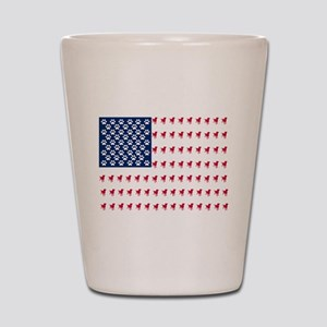 USA Dog Flag Shot Glass