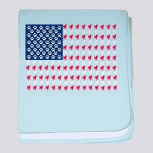 USA Dog Flag baby blanket