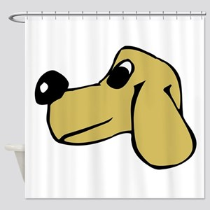 Brown Dog Face Drawing Shower Curtain