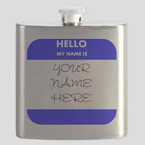 Custom Blue Name Tag Flask