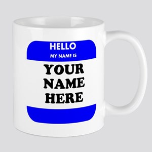 Custom Blue Name Tag Small Mug