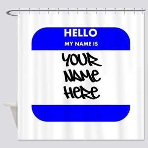 Custom Blue Name Tag Shower Curtain