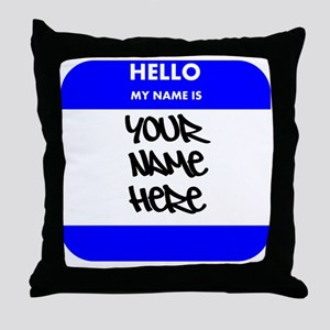 Custom Blue Name Tag Throw Pillow