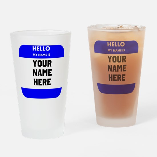 Custom Blue Name Tag Drinking Glass