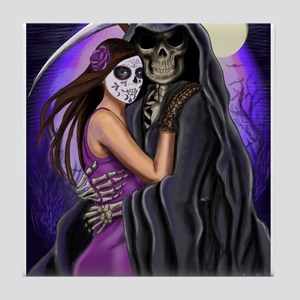Grim Reaper Lovers Embrace Tile Coaster