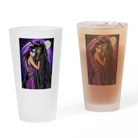 Grim Reaper Lovers Embrace Drinking Glass