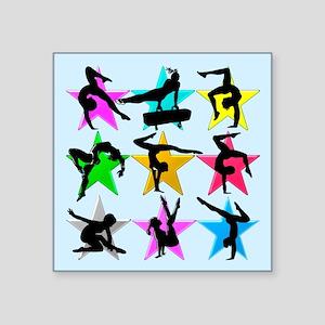 "BLUE GYMNAST STAR Square Sticker 3"" x 3"""