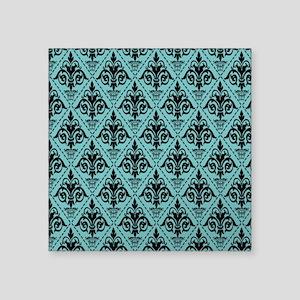 "Black & Aqua Sky Damask #29 Square Sticker 3"" x 3"""