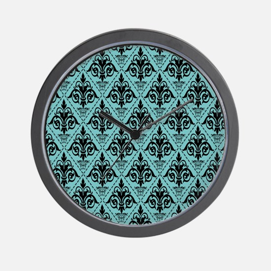 Black & Aqua Sky Damask #29 Wall Clock