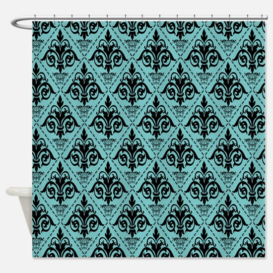 Aqua Black Damask Shower Curtains Cafepress