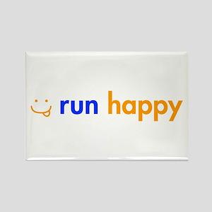 run-happy-smile-orange-blue Rectangle Magnet