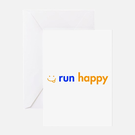run-happy-smile-orange-blue Greeting Card