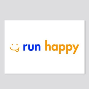 run-happy-smile-orange-blue Postcards (Package of