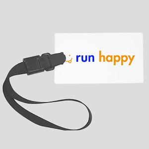 run-happy-smile-orange-blue Luggage Tag