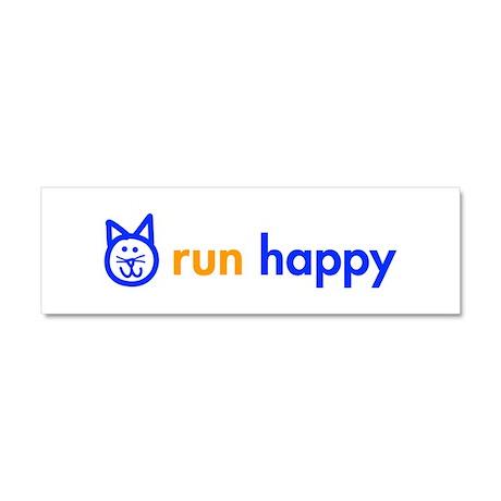 run-happy-cat-blue Car Magnet 10 x 3