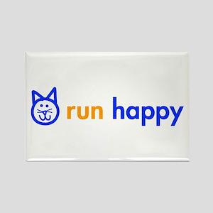 run-happy-cat-blue Rectangle Magnet