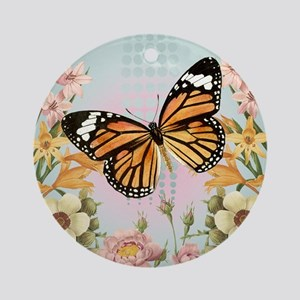 Modern Vintage Monarch butterfly Ornament (Round)