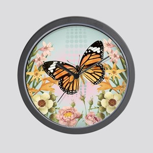 Modern Vintage Monarch butterfly Wall Clock