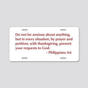 Philippians-4-6-opt-burg Aluminum License Plate