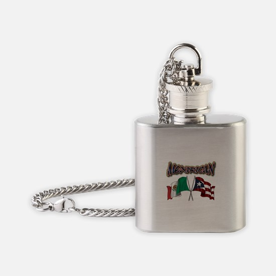 MexiRican Flags centered Flask Necklace
