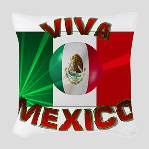 Mexico-flag3 Woven Throw Pillow