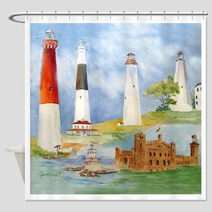 New Jersey Light Houses Shower Curtain