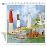 Nj lighthouses Shower Curtains